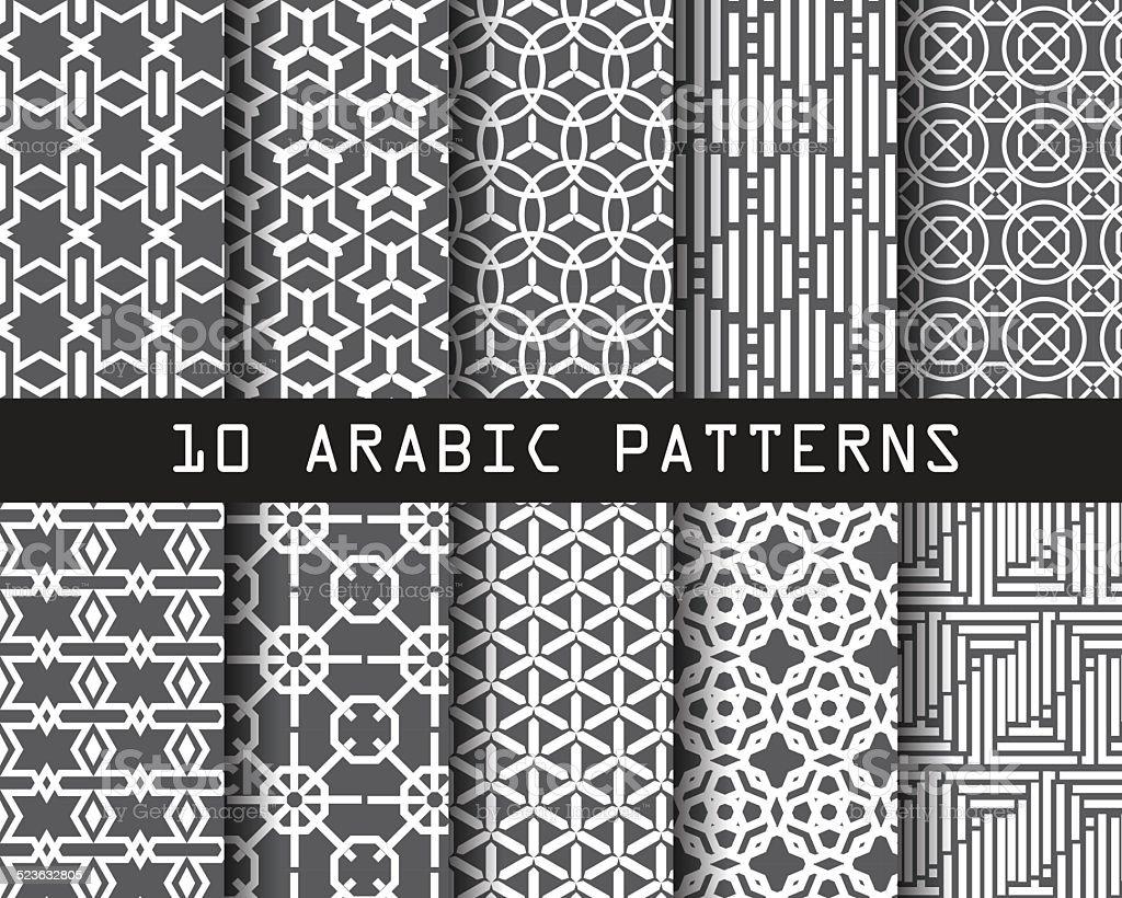 10 arabic patterns1 vector art illustration