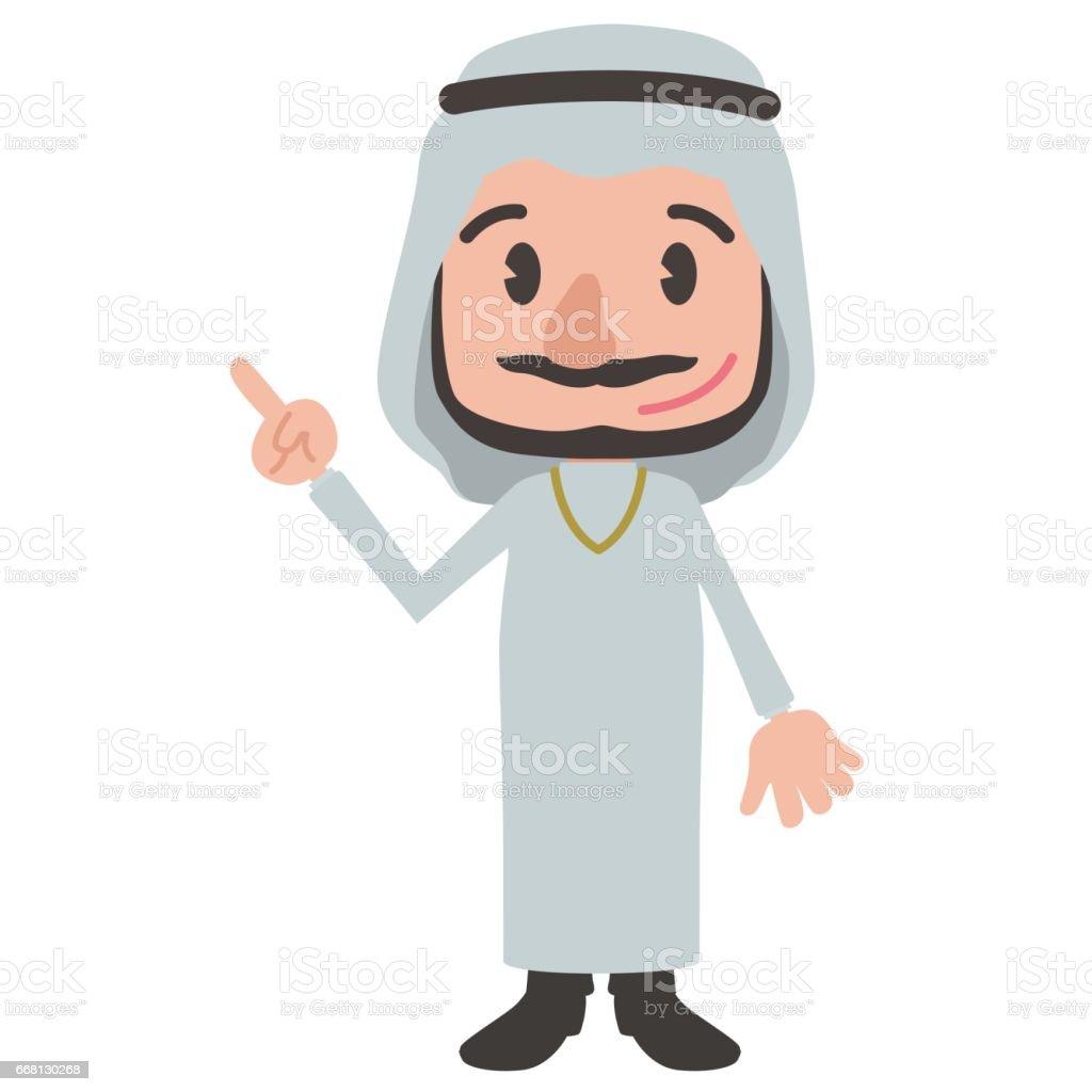 arabic person cartoon character pointing hand sign clip art vector art illustration