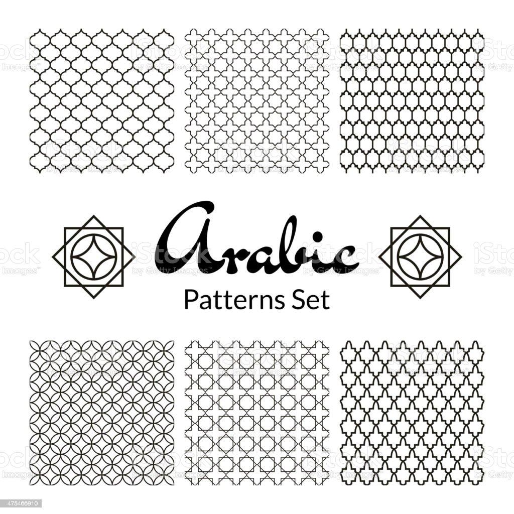 Arabic seamless patterns set vector art illustration