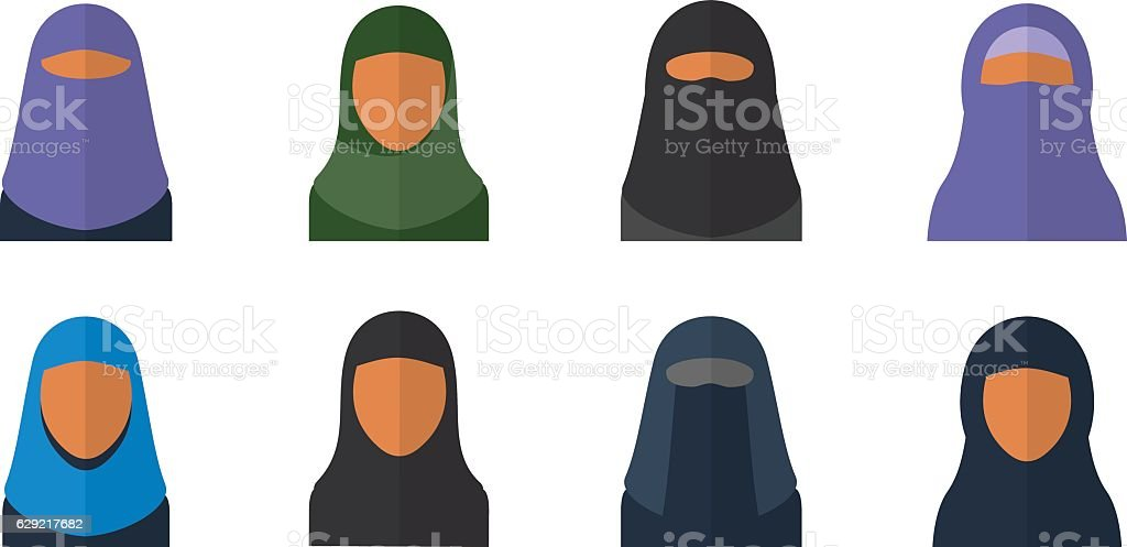 Arabic woman set vector art illustration