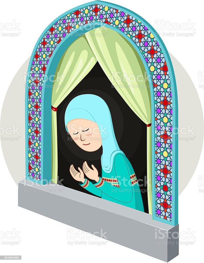 arabic/moslem girl praying inthe window vector art illustration