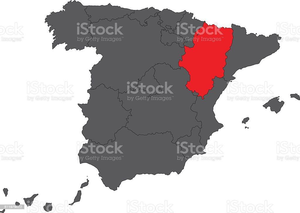 Aragon red map on gray Spain map vector vector art illustration