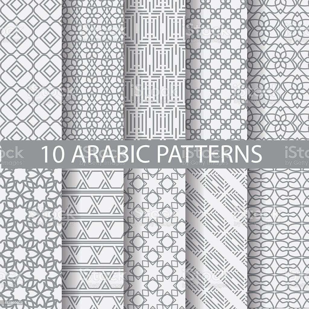 arbic pattern set vector art illustration