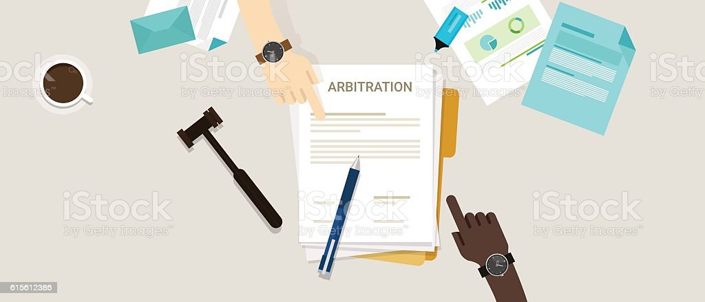 arbitration law dispute legal resolution conflict vector art illustration