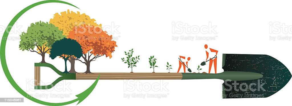 Arbor Day People Planting Trees vector art illustration