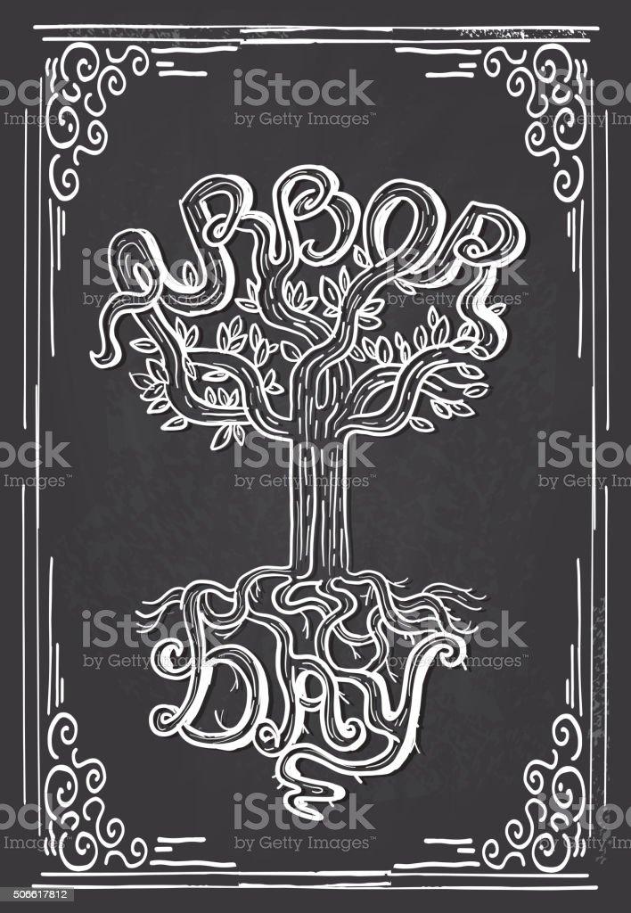 Arbor Day tree hand lettering design chalkboard vector art illustration
