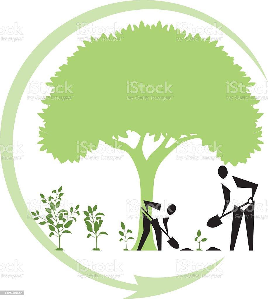 Arbor Day Tree Planting vector art illustration