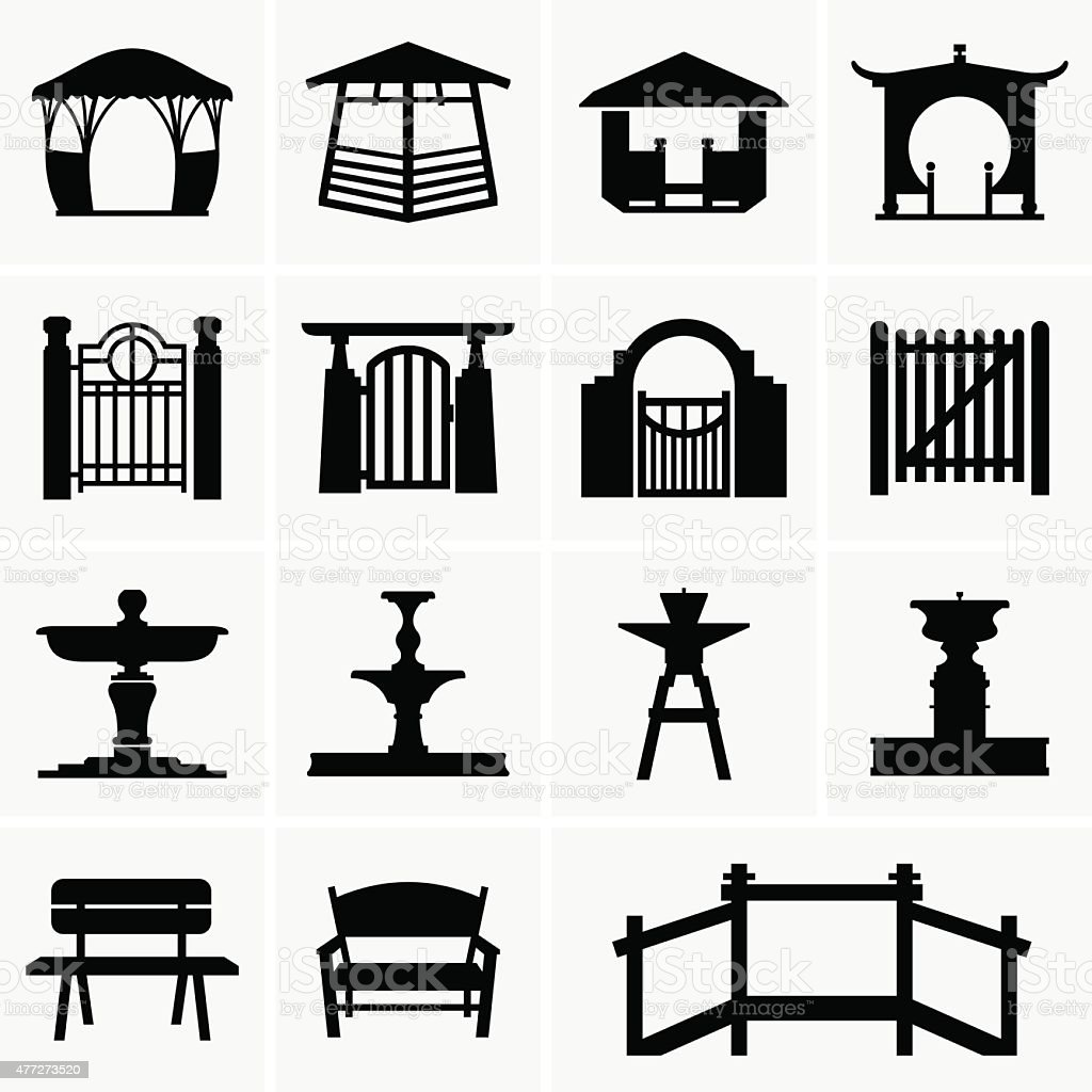 Arbors, gates, fountains, benches vector art illustration