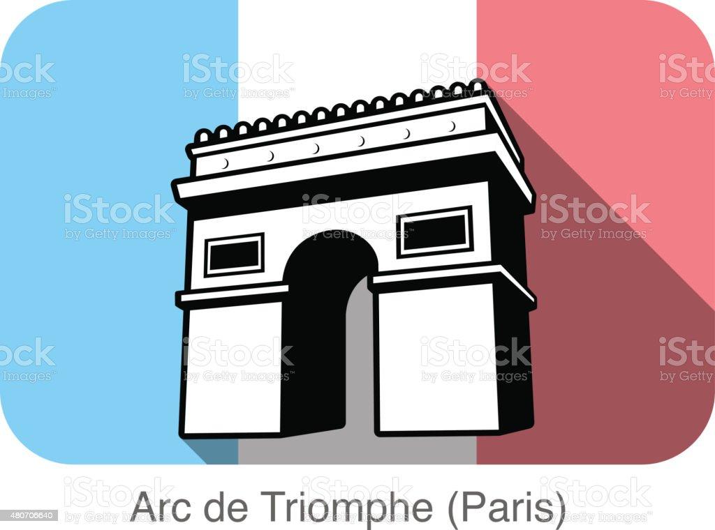 Arc De Triomphe landmark flat icon design vector art illustration