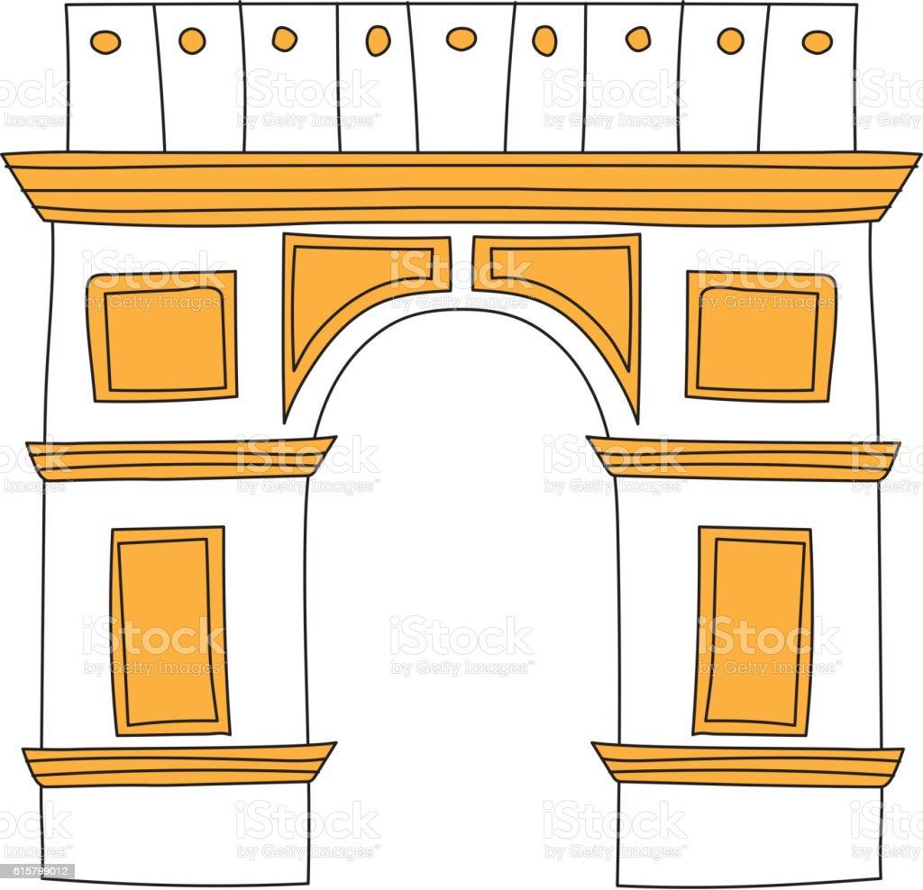 Arc de Triomphe Paris France architecture europe travel monument vector. vector art illustration
