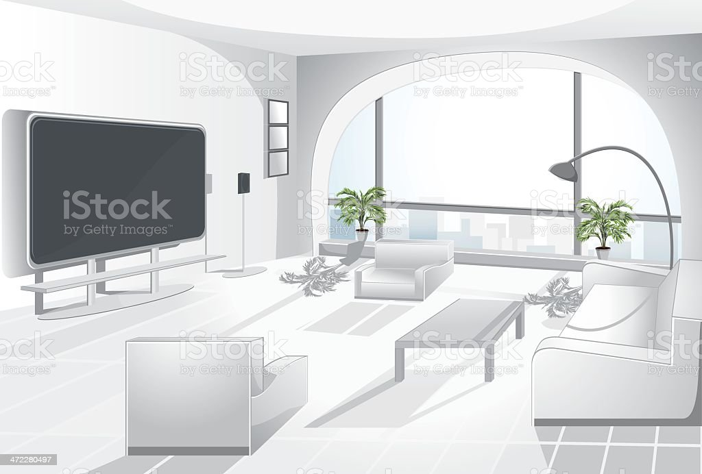 Arc window appartment. royalty-free stock vector art