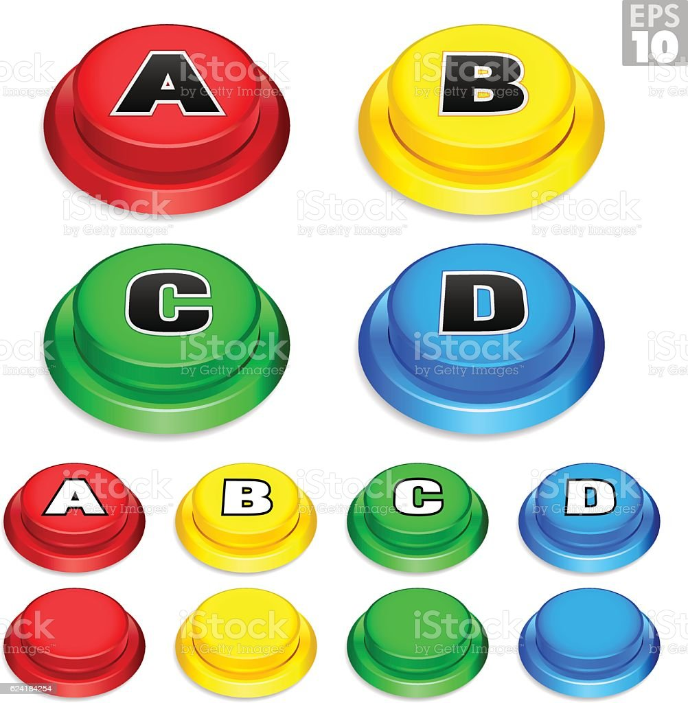 Arcade Buttons In Red, Yellow, Green, Blue For Retro Games. vector art illustration