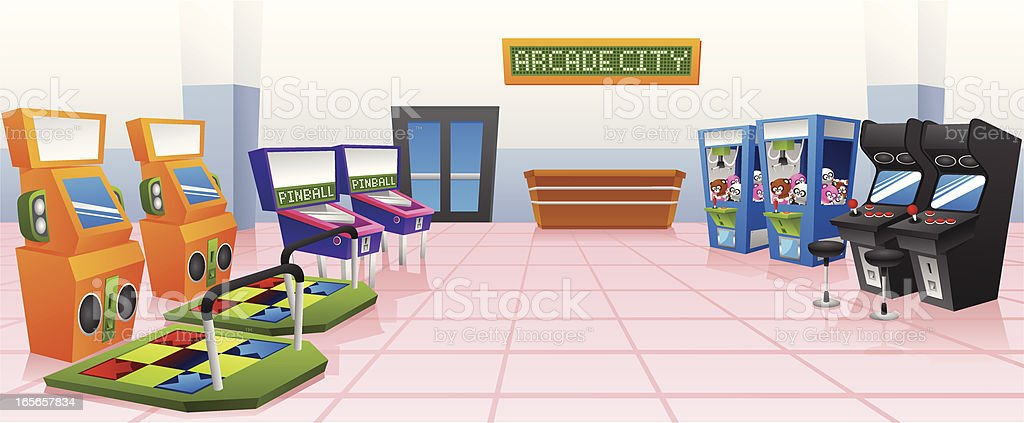 Arcade city vector art illustration
