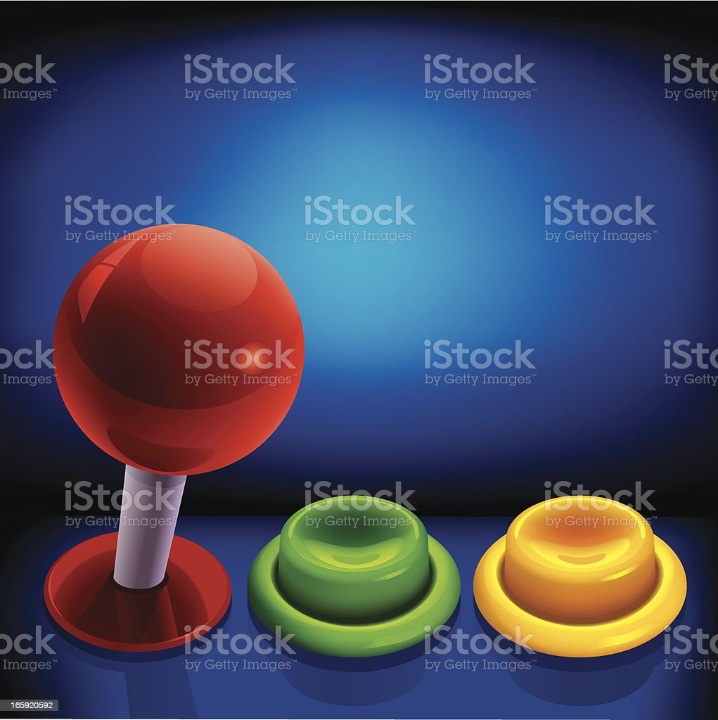 Arcade Joystick and Push Button vector art illustration