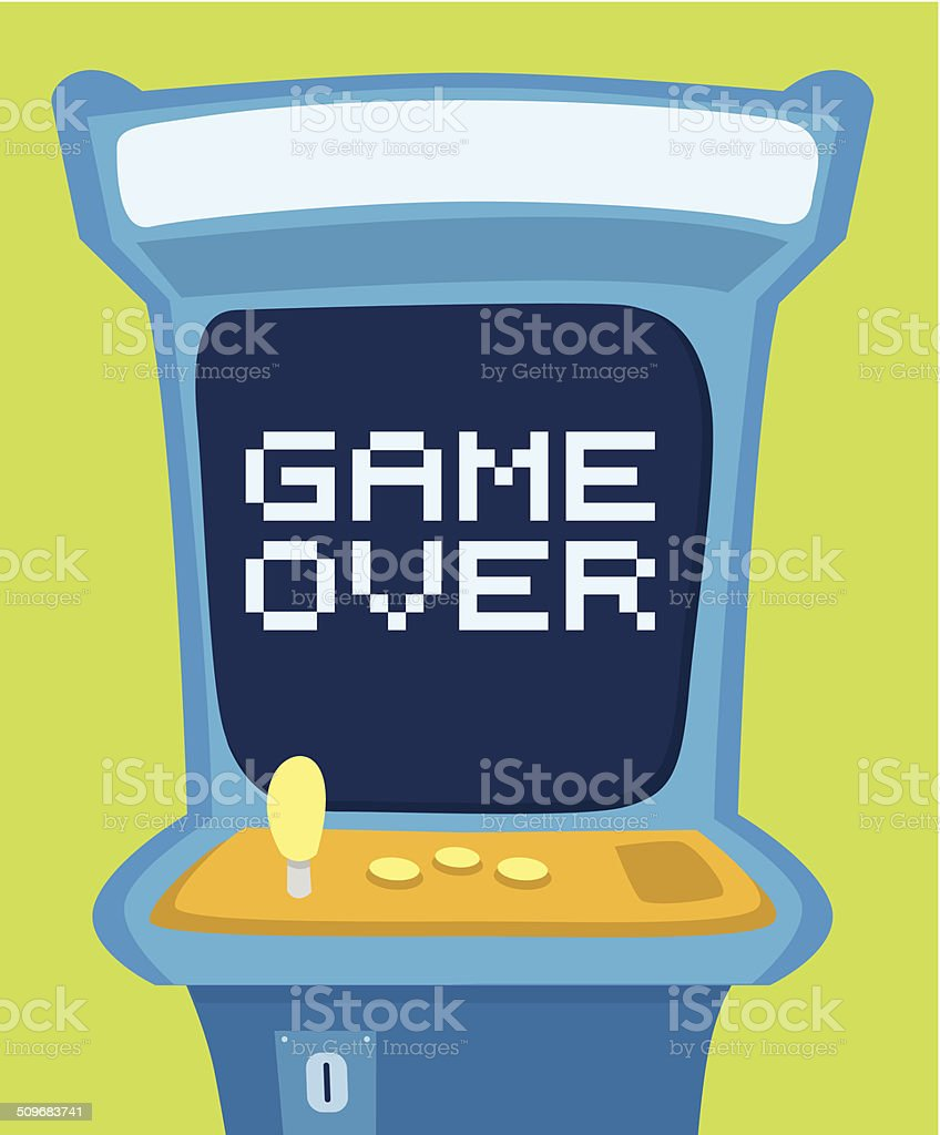 Arcade machine showing game over message vector art illustration