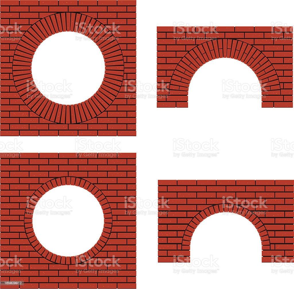 arch brick walls vector art illustration
