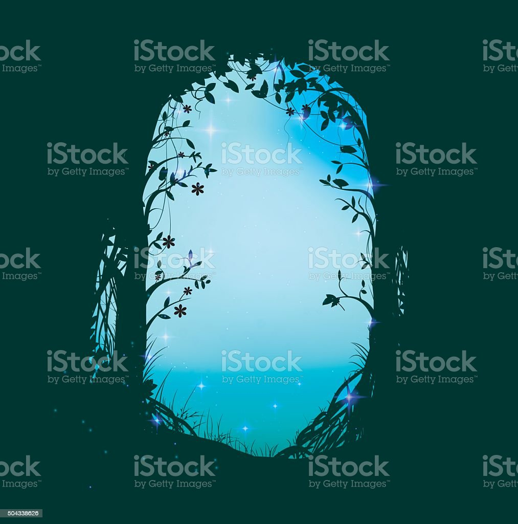 arch from leaves vector art illustration