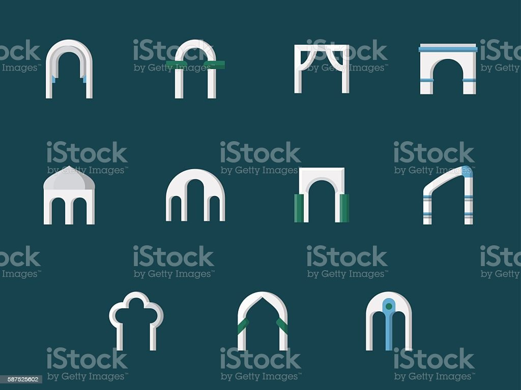 Arch types flat color vector icons vector art illustration
