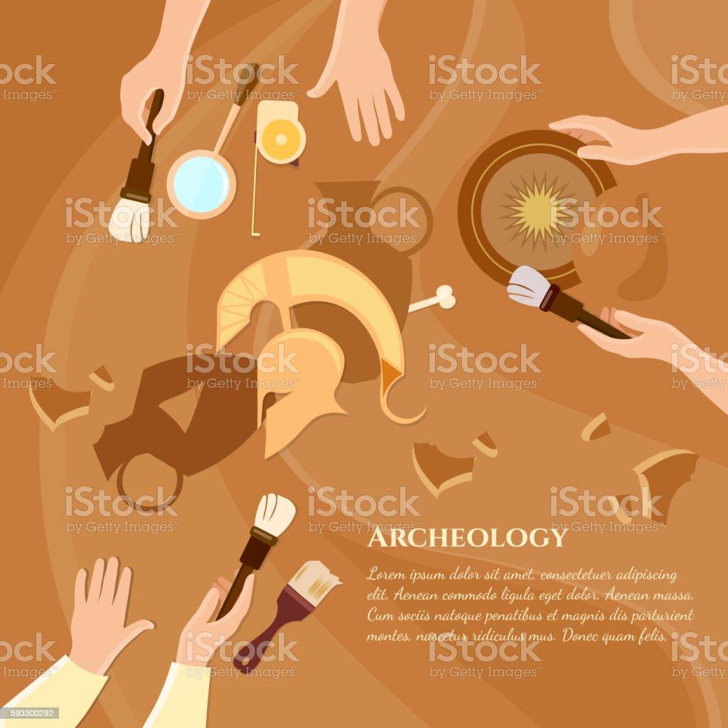 Archaeological excavation achaeologists vector art illustration