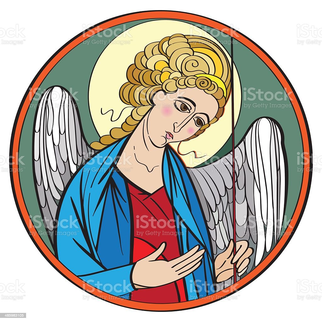 Archangel colored drawing royalty-free stock vector art