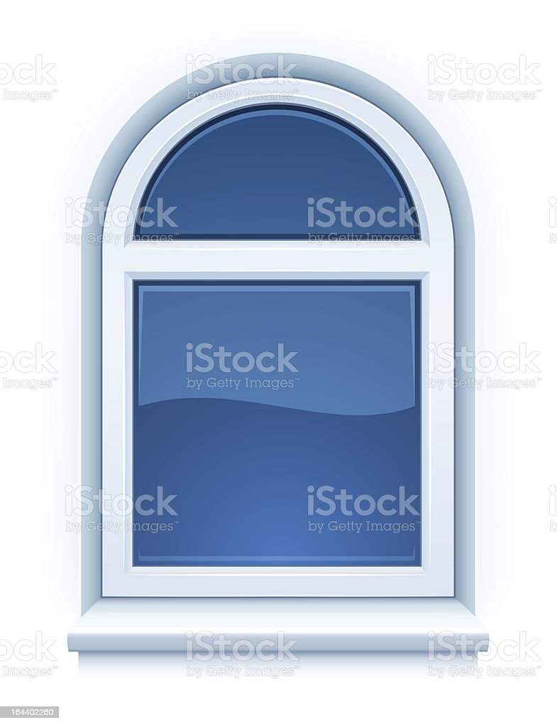 arched closed plastic window with windowsill royalty-free stock vector art