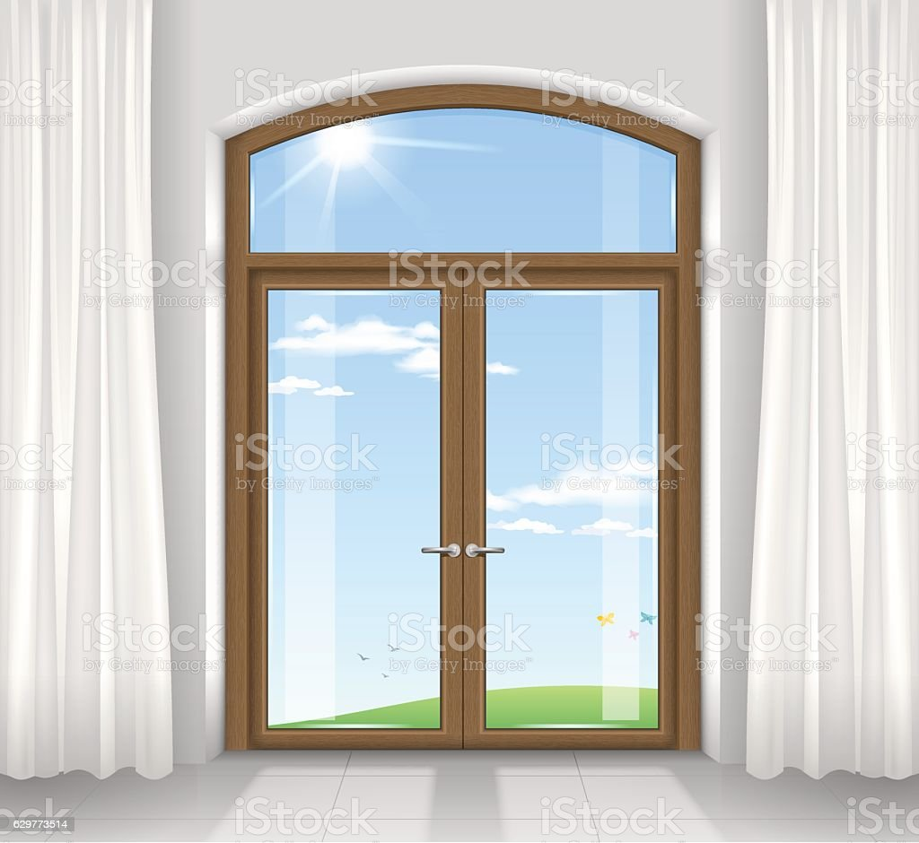 Arched double doors vector art illustration
