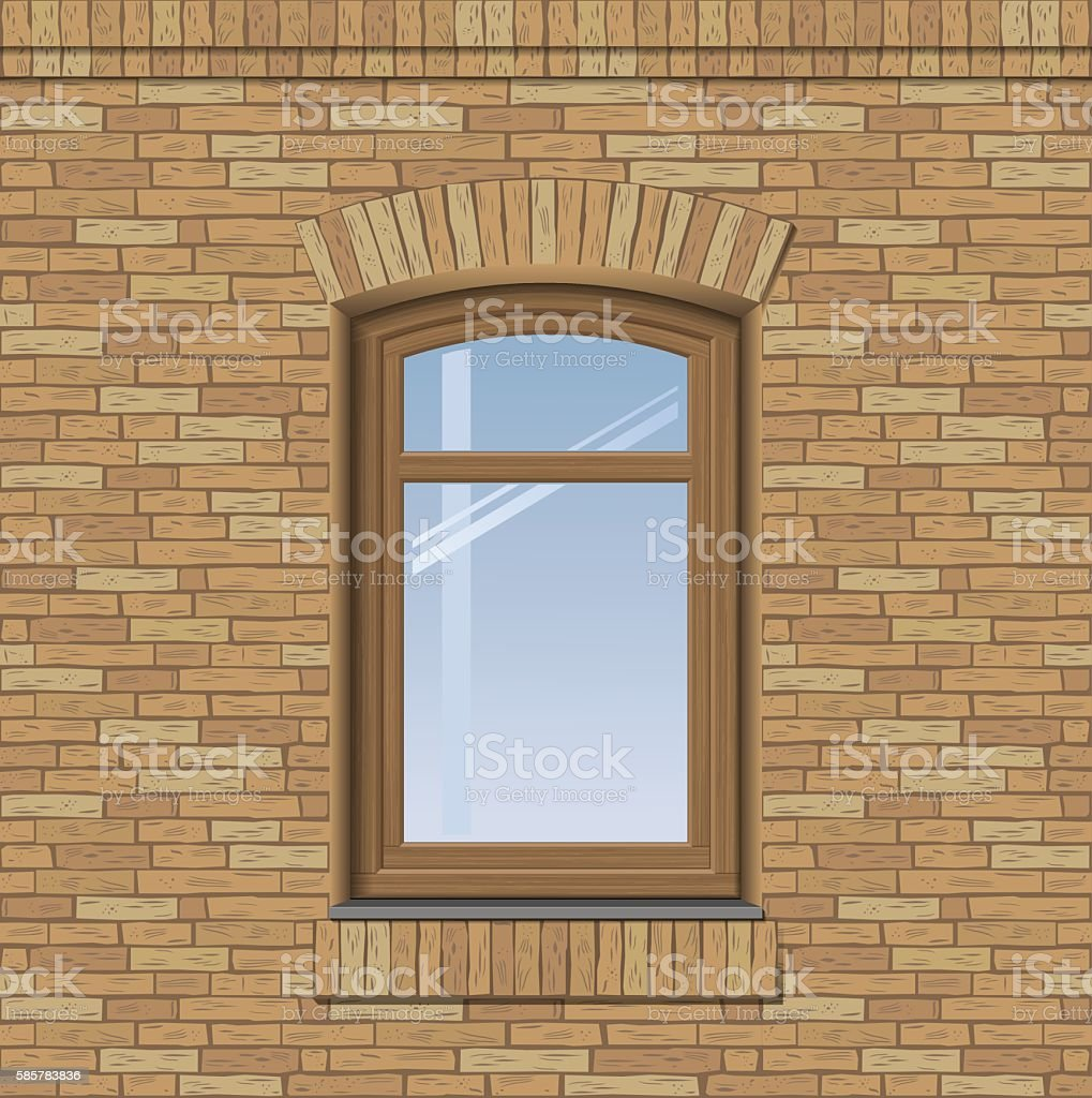 Arched old window vector art illustration