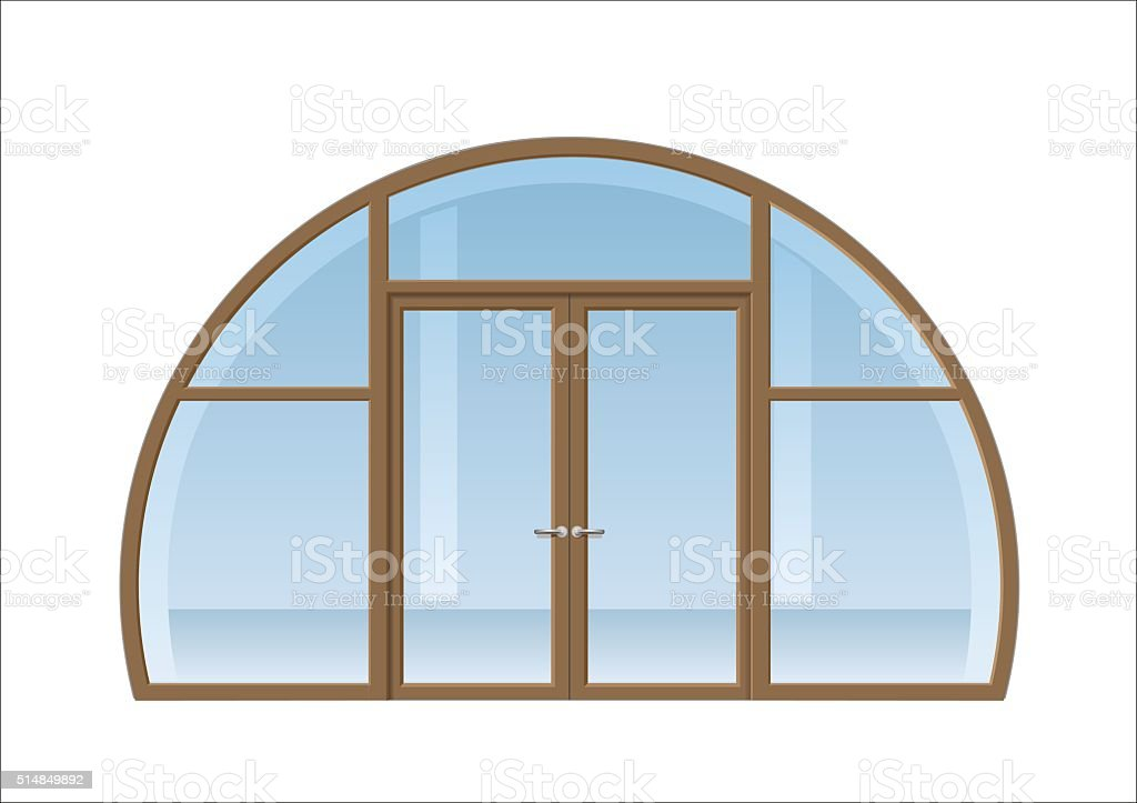 Arched window and door vector art illustration
