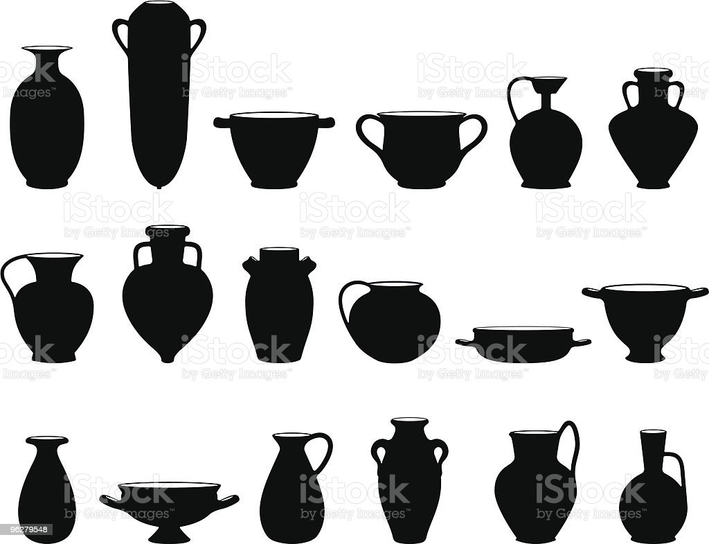 Archeological pottery vector art illustration