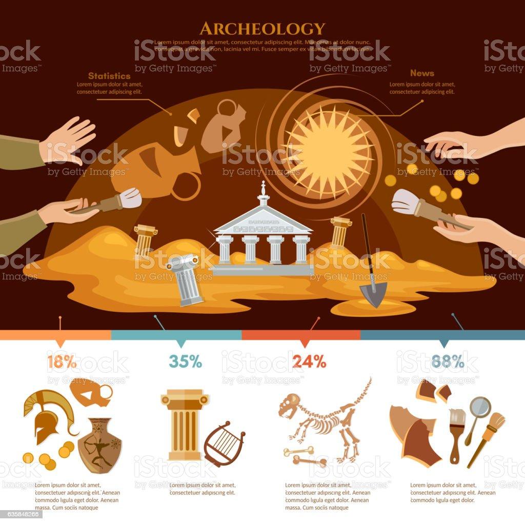 Archeology and paleontology concept vector art illustration