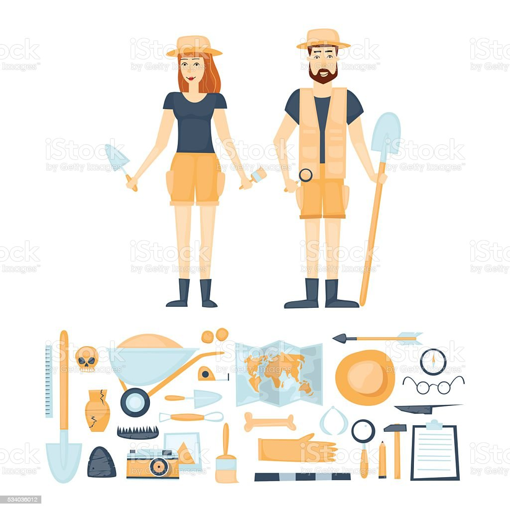 Archeology. Archaeologists man and woman, discovering a jug vector art illustration