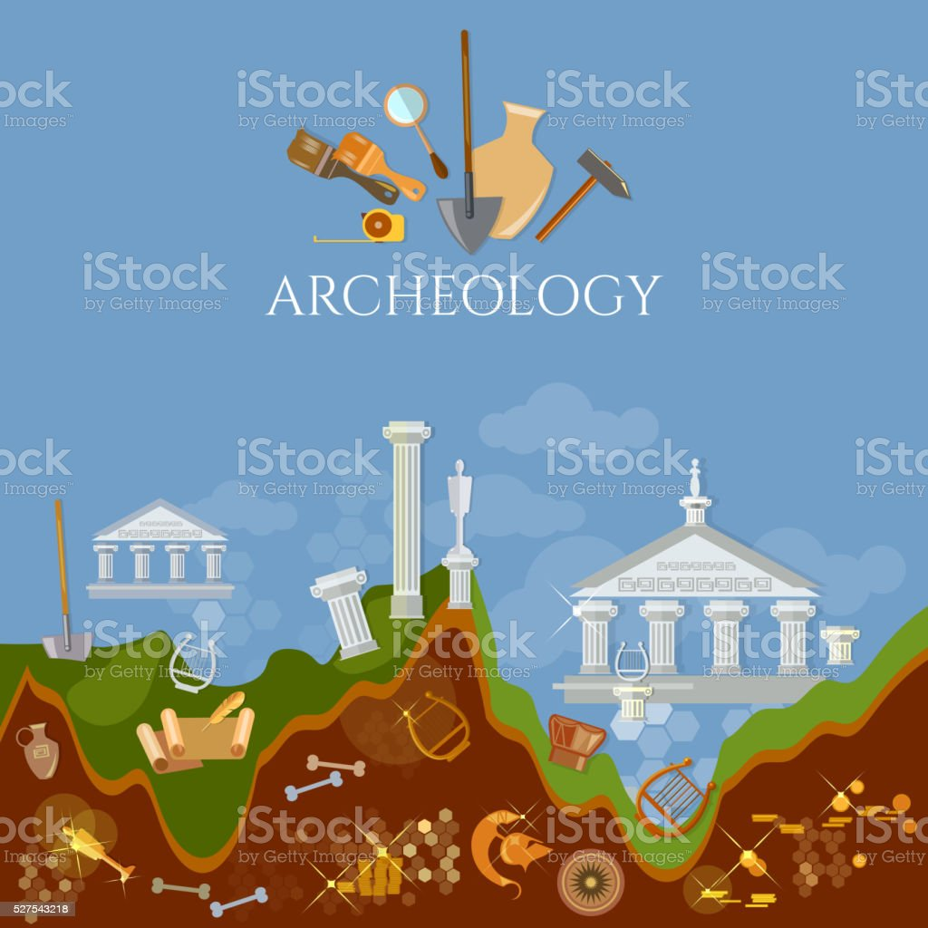 Archeology excavations of ancient treasures ruins vector art illustration