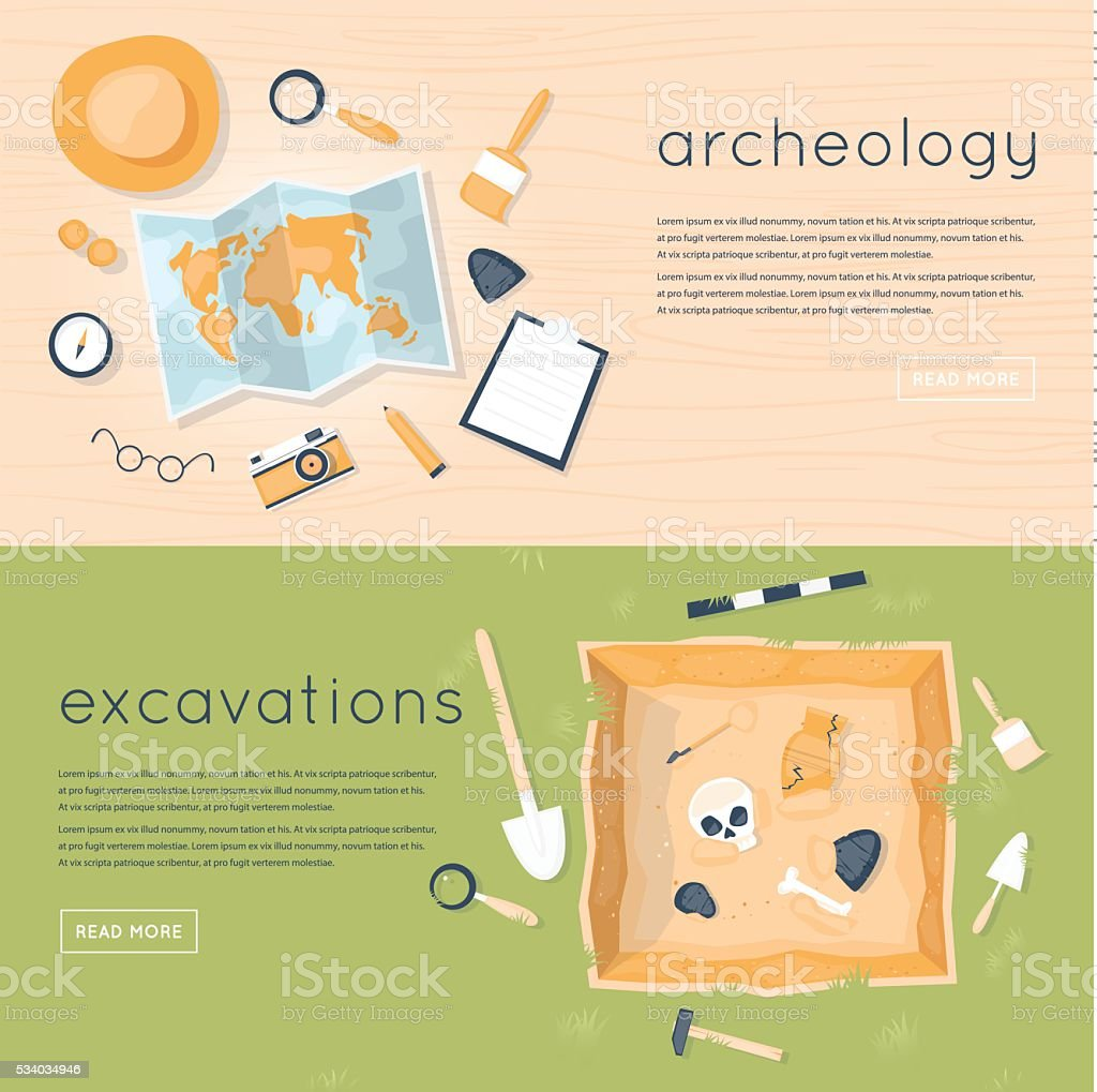 Archeology science. Historical archeology. Discovering a jug. vector art illustration