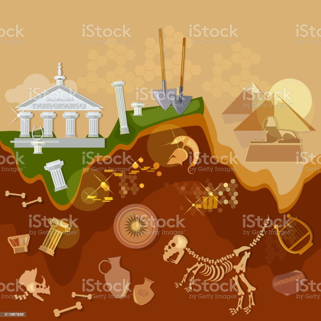 Archeology treasure hunters ancient artifacts vector art illustration