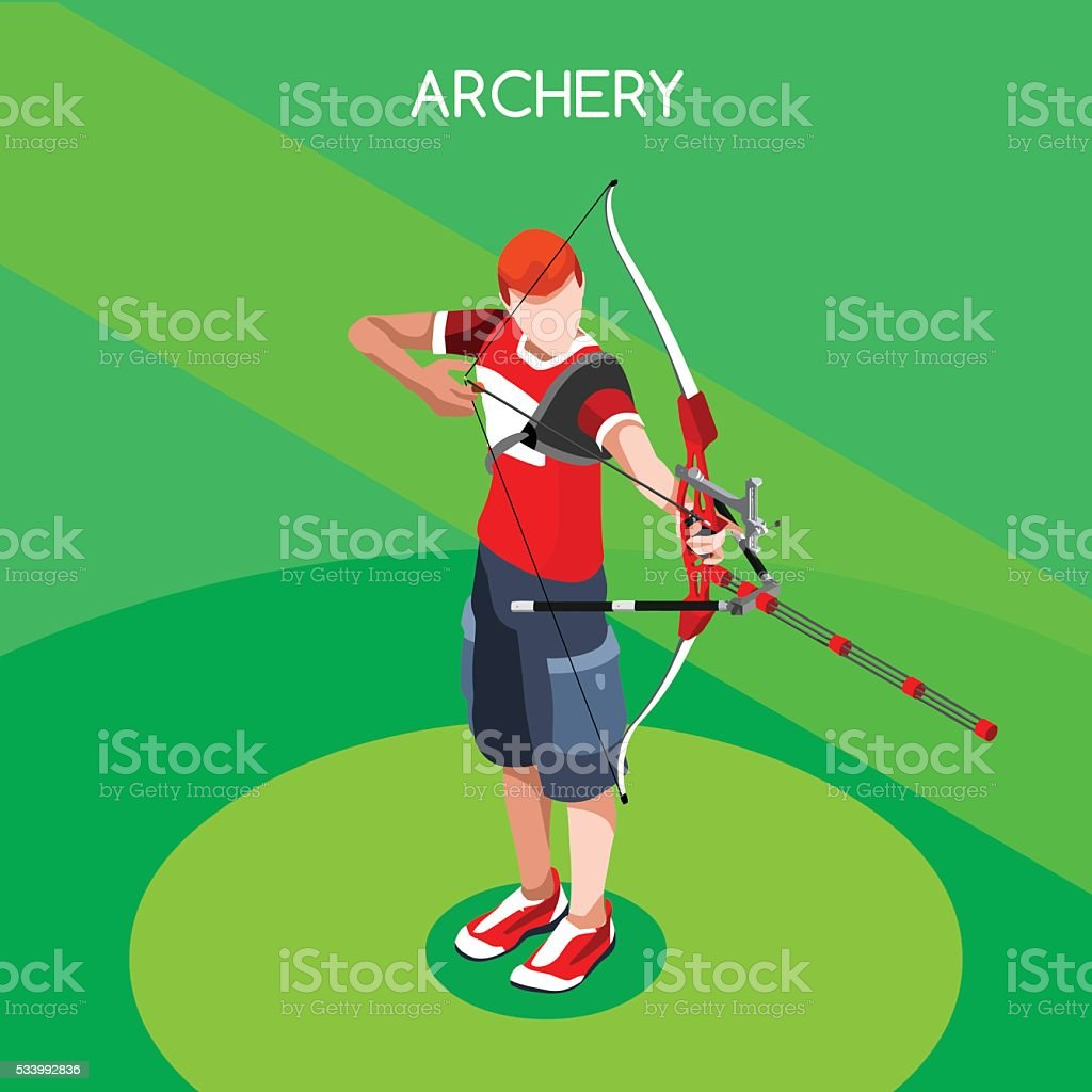 Archery Summer Games Isometric Archery Player Sporting Championship International Competition vector art illustration