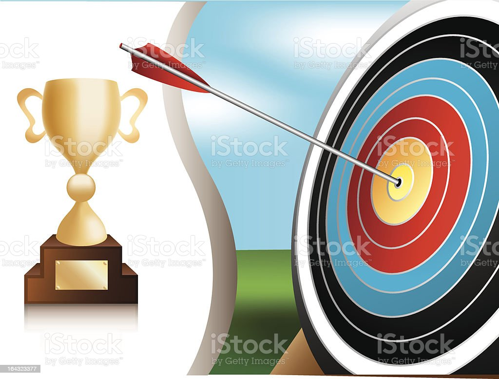 Archery target and trophy royalty-free stock vector art