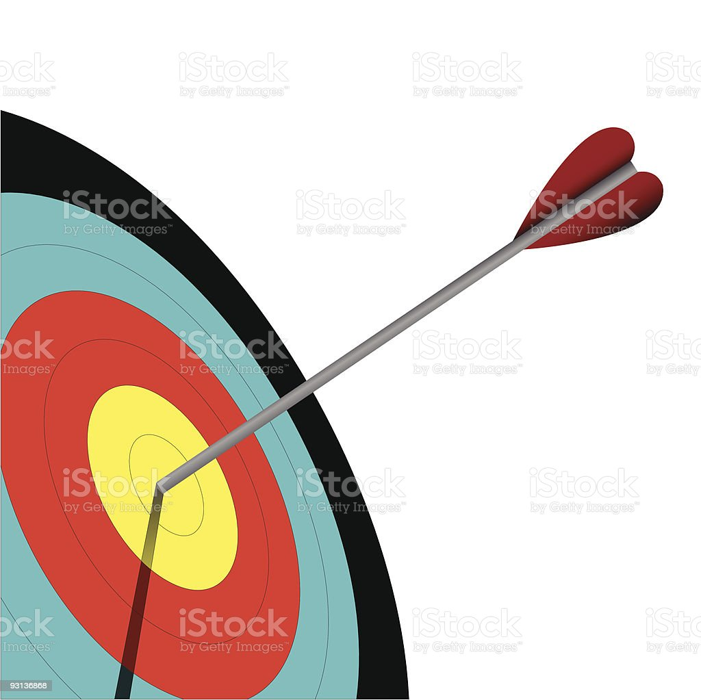 Archery with colorful target and arrow in the center vector art illustration