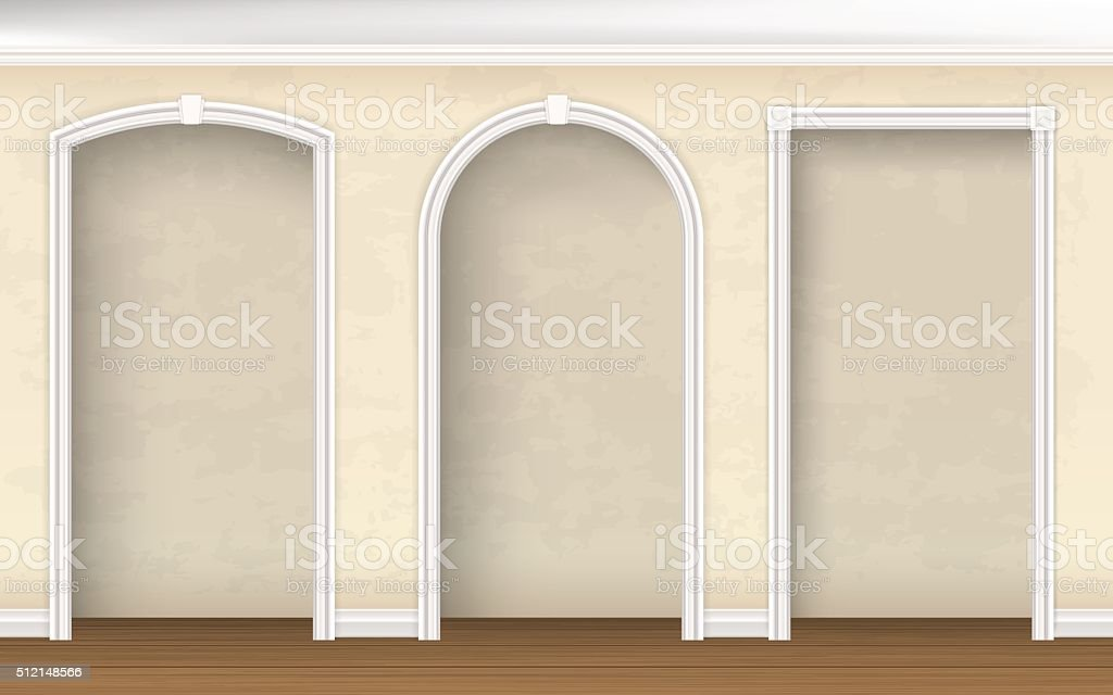 arches of different shapes in the wall vector art illustration