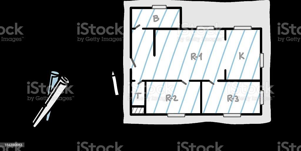 architect & apartment plan royalty-free stock vector art