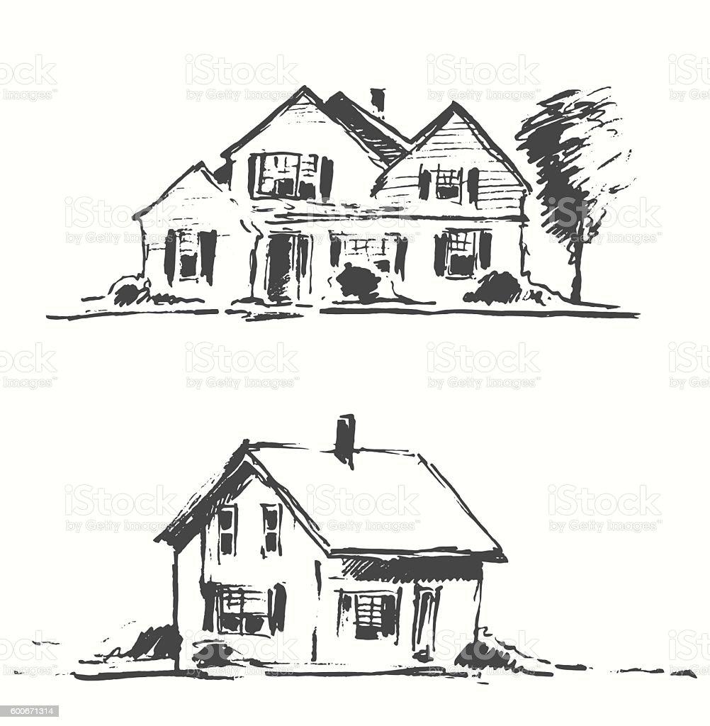 Architect draft houses vector illustration drawn. vector art illustration