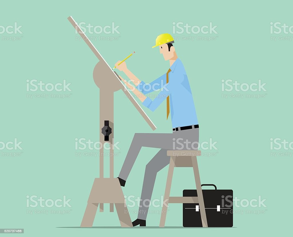 Architect drawing on drafting table. vector art illustration
