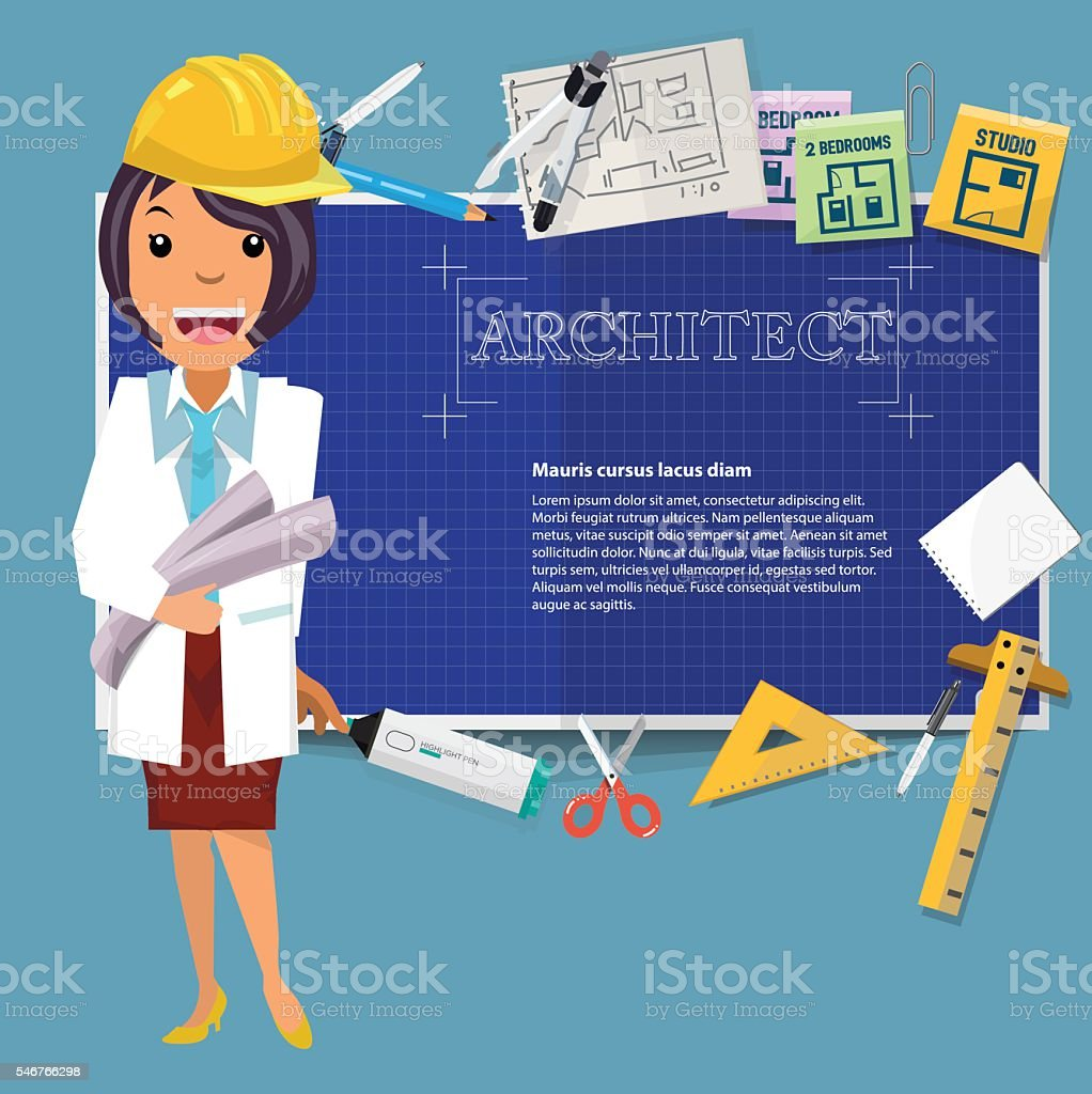 architect girl with blueprint paper and icon to presentation vector art illustration