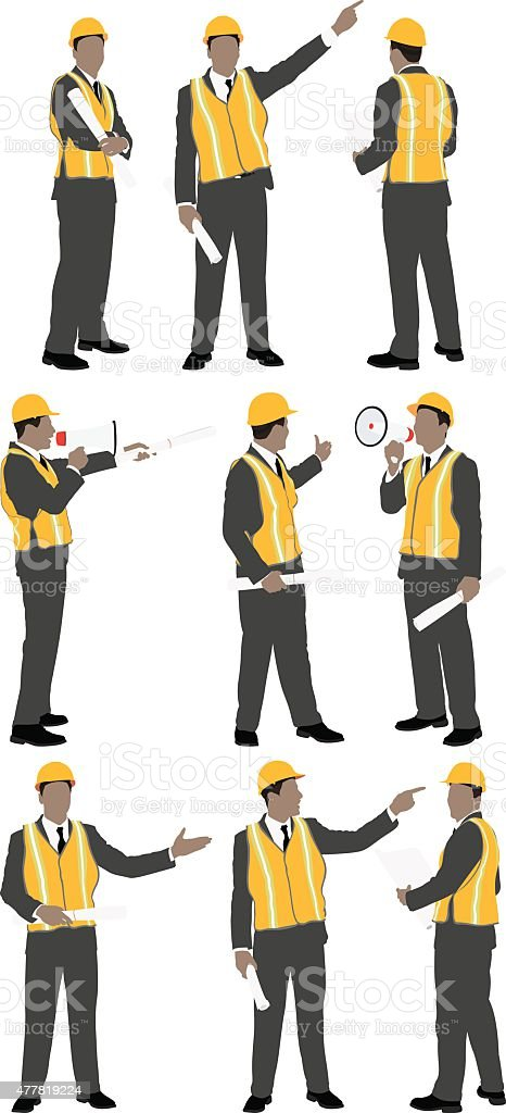 Architect in various actions vector art illustration