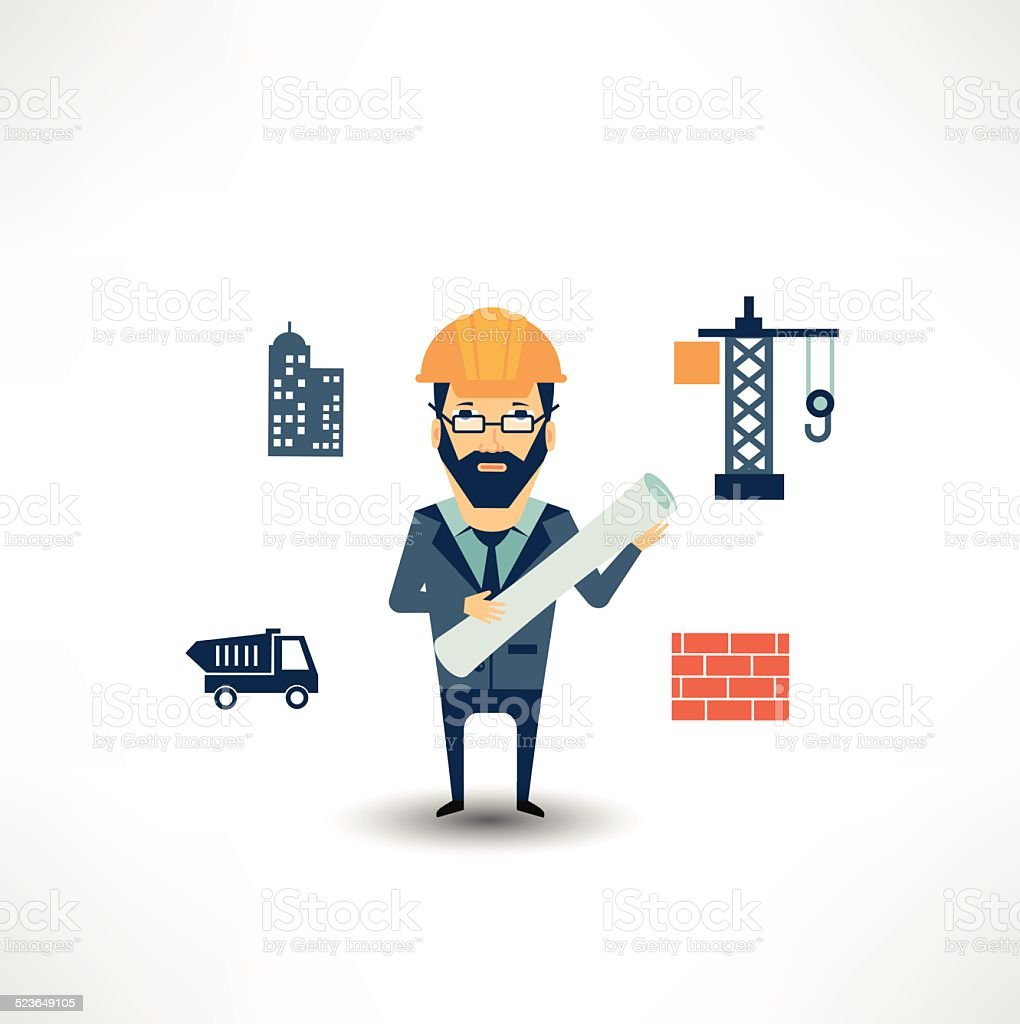 architect looking for construction vector art illustration