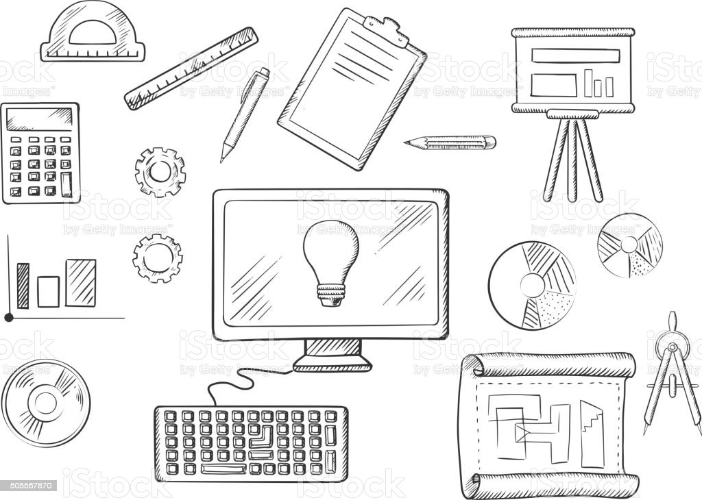 Architect or education sketched icons vector art illustration