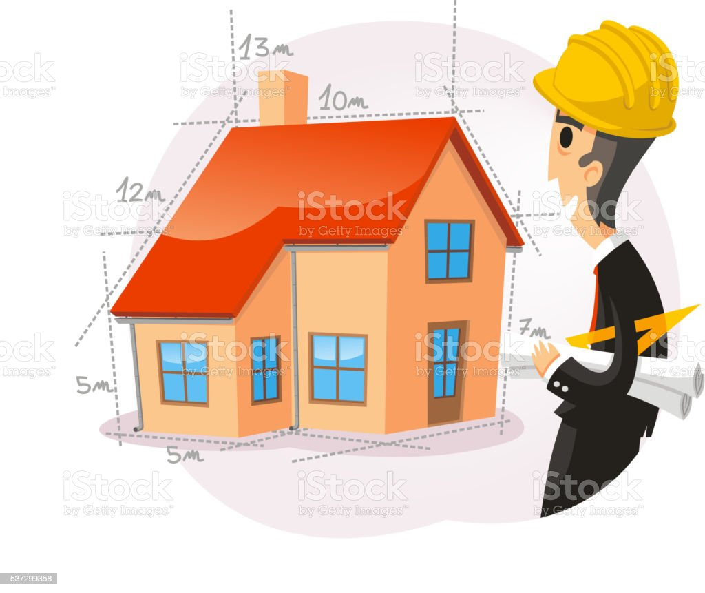 architect with house vector art illustration