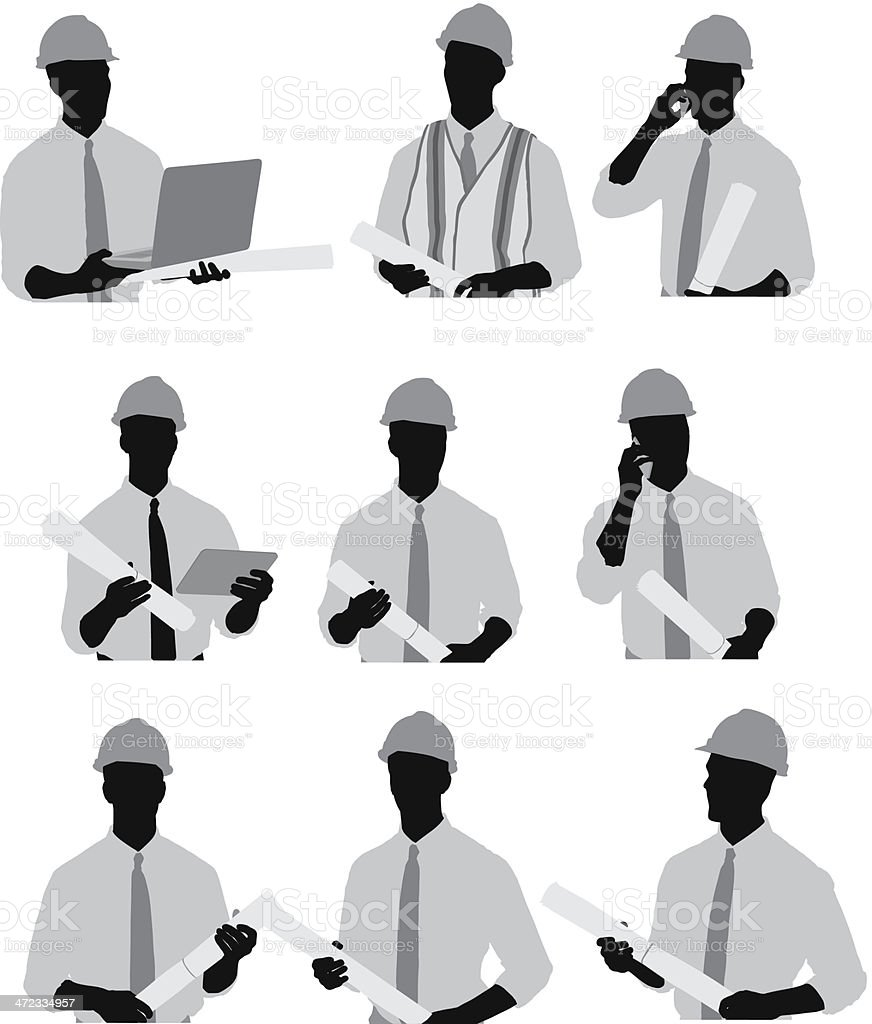 Architect with laptop and blueprint vector art illustration