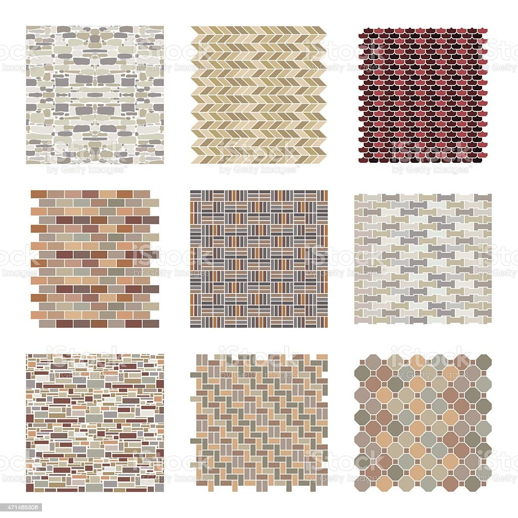 Architectural and landscape rocks and bricks patterns set vector art illustration