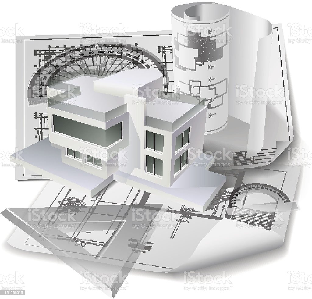 Architectural background with a 3D building model and drawings royalty-free stock vector art