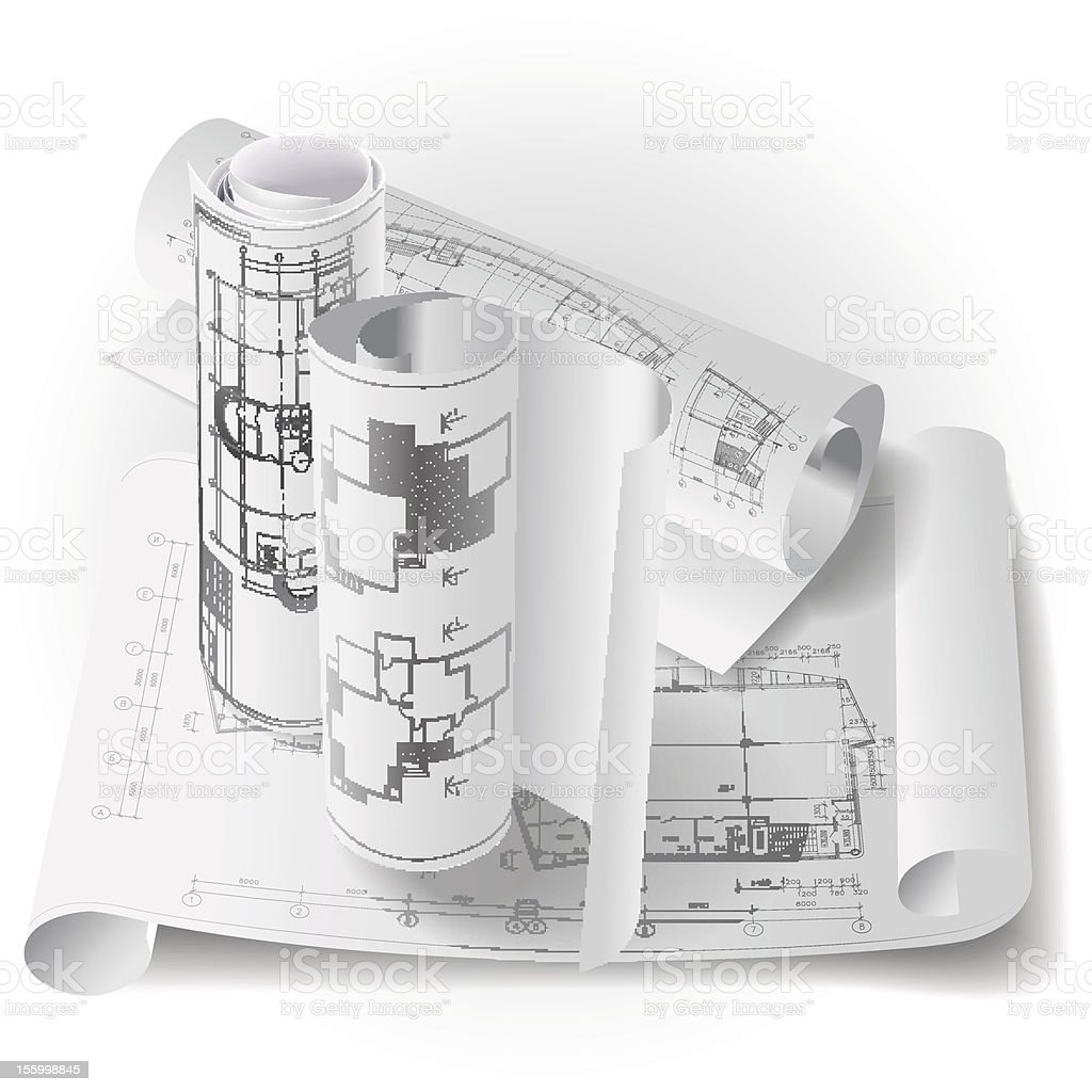 Architectural background with rolls of drawings royalty-free stock vector art
